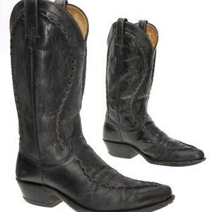 Dan Post Albany BlkLeather Whipstitch Cowboy Boots